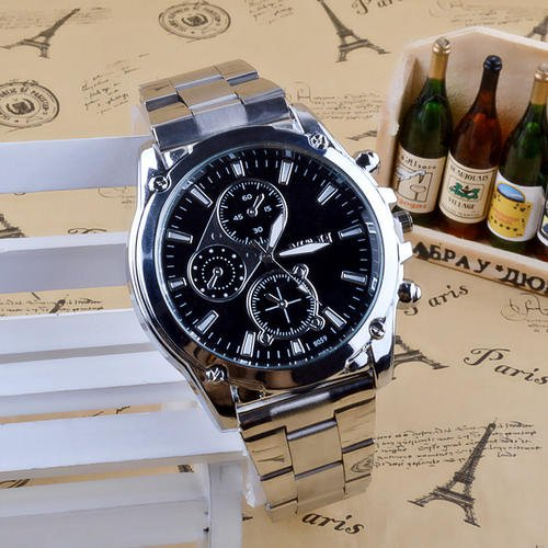Men Official Quartz Casual Silver Color Watch Wristband