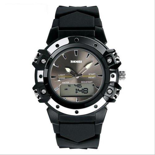 Luxury Brand Sports Quartz Watch Dual Time Digital Analog Men  Black