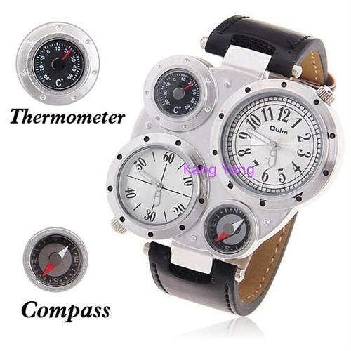 Oulm® Men's Military Sports Quartz Leather Wrist Watch + Analog Dial Display (5 cm Dial Diameter)