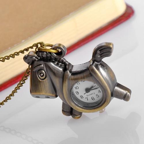 Fashion Retro Classic Horse Pendant Bronze Vintage Pocket Watch Quartz Necklace Watch