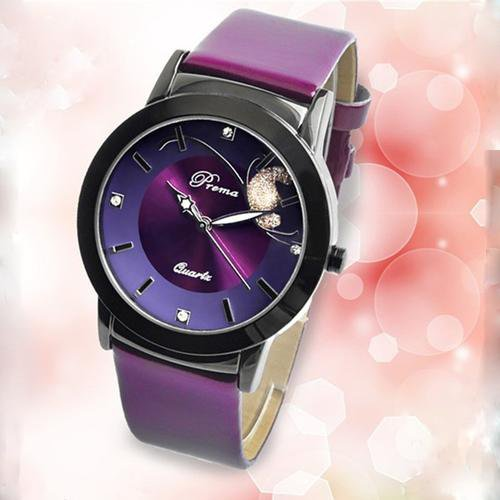 Fashion Luxury Lady Wristwatch  Purple