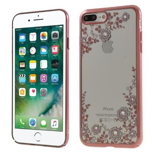 Hard Cover Bag Flowers Pattern Rose Gold Phone Case for iPhone 7 Plus Pink
