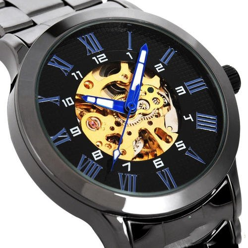 SHENHUA Blue Hand Roman Numberals Hollow Black Steel watch