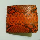 Genuine Python Snakeskin Leather Men's Bifold Wallet - Orange