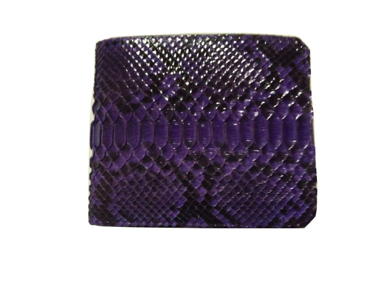 Genuine Python Snakeskin Leather Men's Bifold Wallet - Purple