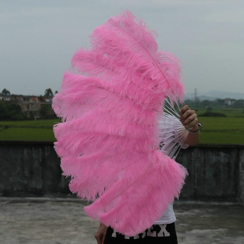 "single layer Pink Ostrich Feather Fan Burlesque friend 25""x45"""