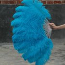 "single layer Blue Ostrich Feather Fan Burlesque friend 25""x45"""