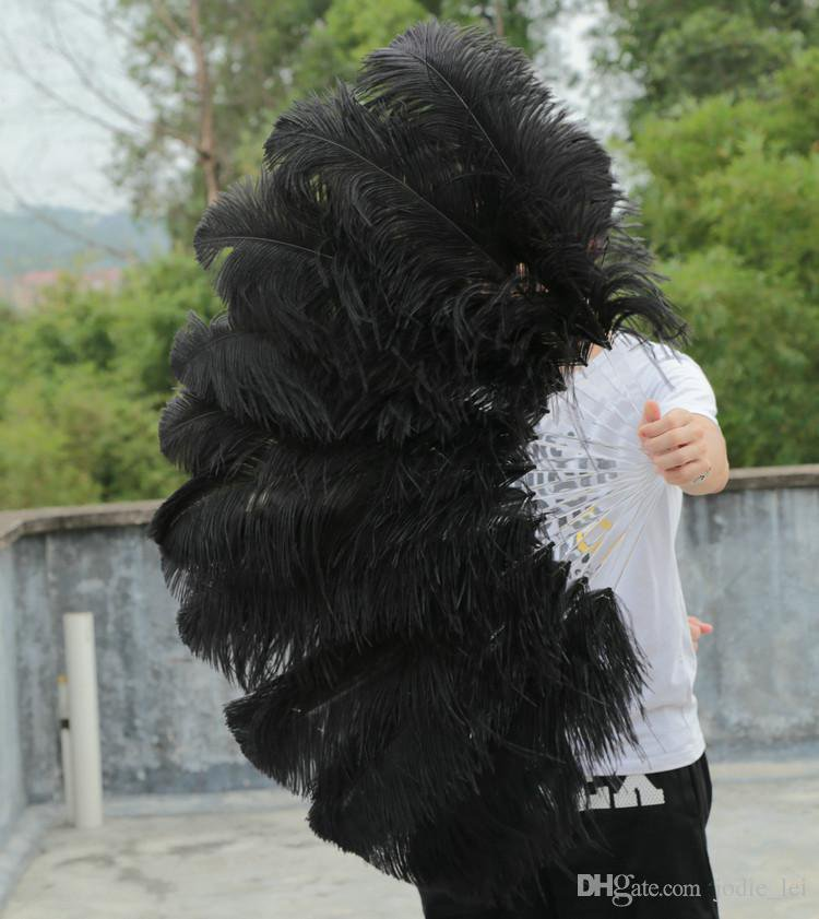 "single layer Black Ostrich Feather Fan Burlesque friend 25""x45"""