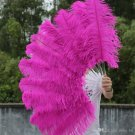 "single layer Hotpink Ostrich Feather Fan Burlesque friend 25""x45"""