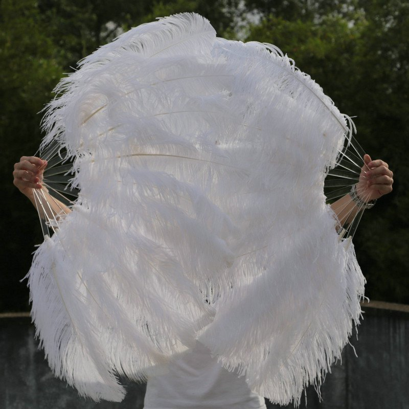 "A pair White Single-layer Ostrich Feather fan 24""x41"" burlesque dancer"