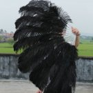 "Black Double Layers Large  Ostrich Feather Fan Burlesque dancer friends 30""x 54"""