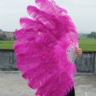 "Hotpink Double Layers Large Ostrich Feather Fan Burlesque dancer friends 30""x 54"""