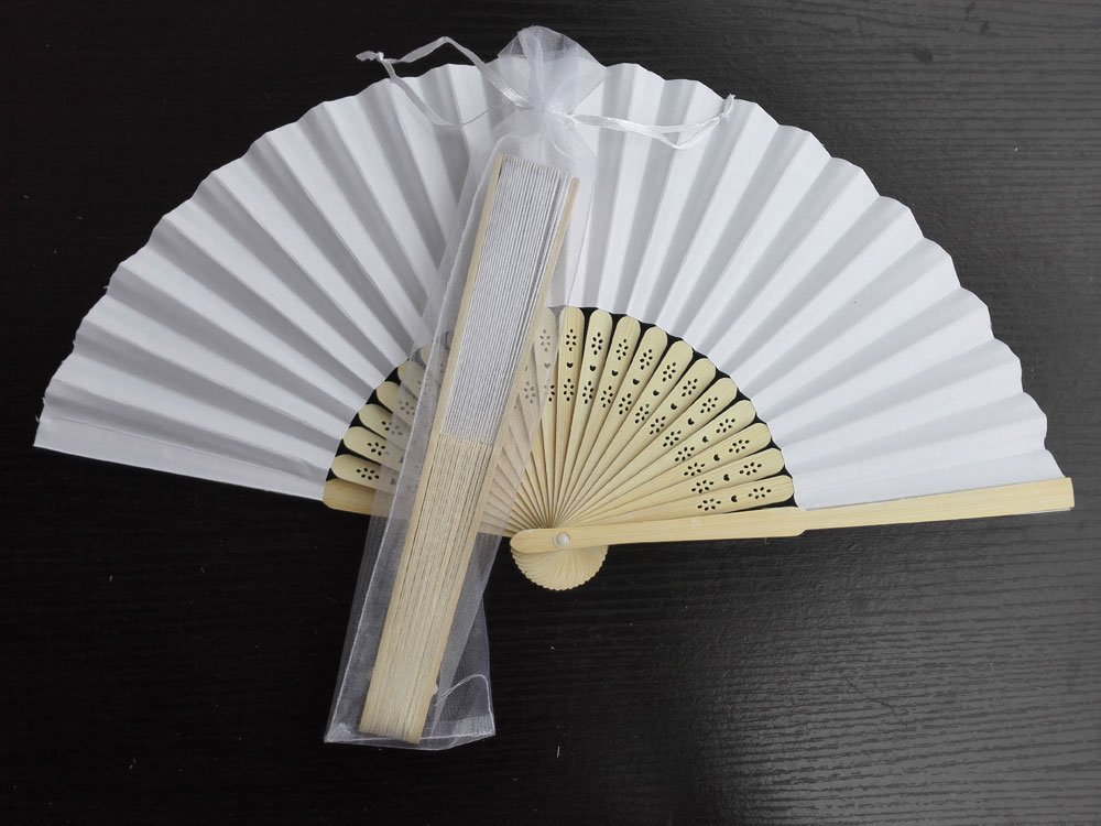 Free Shipping 20Pcs/Lot Plain White Paper Hand Fans for Wedding 21cm with Organza Gift Bag