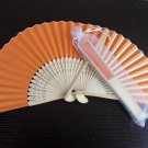 Free Shipping 20Pcs/Lot Plain Orange Paper Hand Fans for Wedding 21cm with Organza Gift Bag