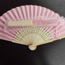 Free Shipping 20Pcs/Lot Plain Pink Paper Hand Fans for Wedding 21cm with Organza Gift Bag