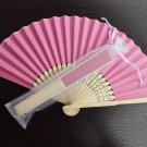 Free Shipping 20Pcs/Lot Plain Hotpink Paper Hand Fans for Wedding 21cm with Organza Gift Bag