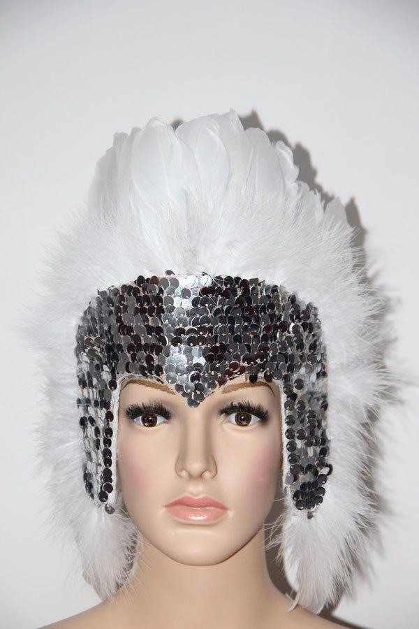 MARDI GRAS SILVER Sequin WHITE Feather Showgirl Headdress NEW