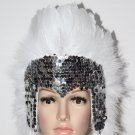 MARDI GRAS SILVER Sequin WHITE Feather Showgirl Headdress NEW