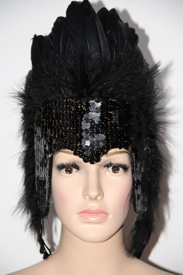 MARDI GRAS BLACK Sequin BLACK Feather Showgirl Headdress NEW