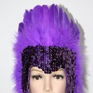 MARDI GRAS PURPLE Sequin PURPLE Feather Showgirl Headdress NEW