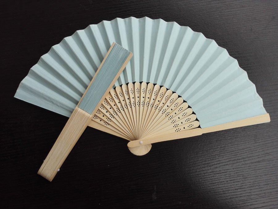 20Pcs/Lot 21cm Baby Blue Wedding Paper Fans Paper Fans for Party Decorations Personalized Paper Fans
