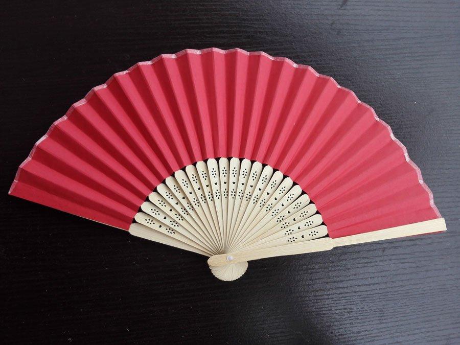 20Pcs/Lot 21cm Red Wedding Paper Fans Paper Fans for Party Decorations Personalized Paper Fans