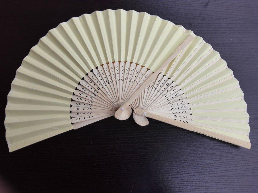 20Pcs/Lot 21cm Yellow Wedding Paper Fans Paper Fans for Party Decorations Personalized Paper Fans