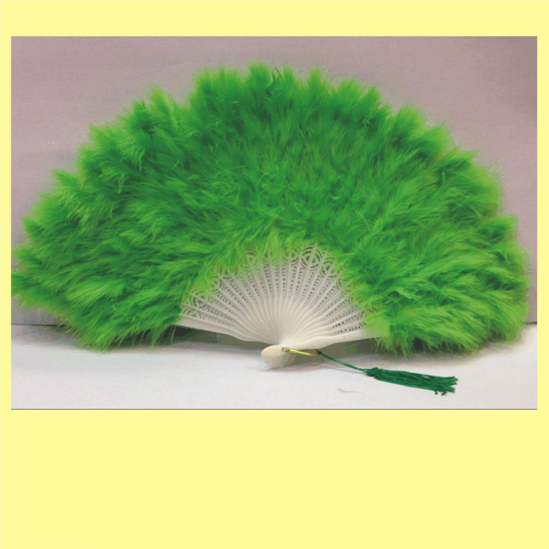 Emeraldgreen  Marabou feather fan costumes Ladies Fancy Dress Wedding party burlesque