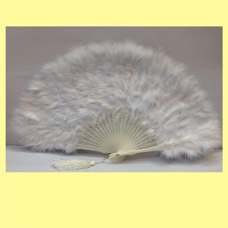 White Marabou feather fan costumes Ladies Fancy Dress Wedding party burlesque