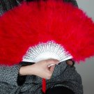 Red Marabou feather fan costumes Ladies Fancy Dress Wedding party burlesque