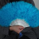 Blue  Marabou feather fan costumes Ladies Fancy Dress Wedding party burlesque