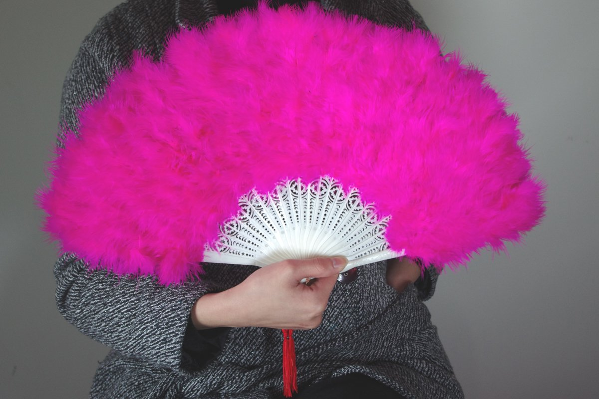 Hotpink  Marabou feather fan costumes Ladies Fancy Dress Wedding party burlesque