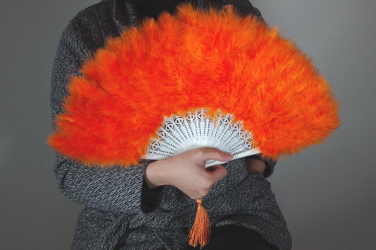 Orange Marabou feather fan costumes Ladies Fancy Dress Wedding party burlesque