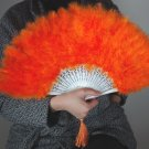 Orange Marabou feather fan costumes Ladies Fancy Dress Wedding party burlesque