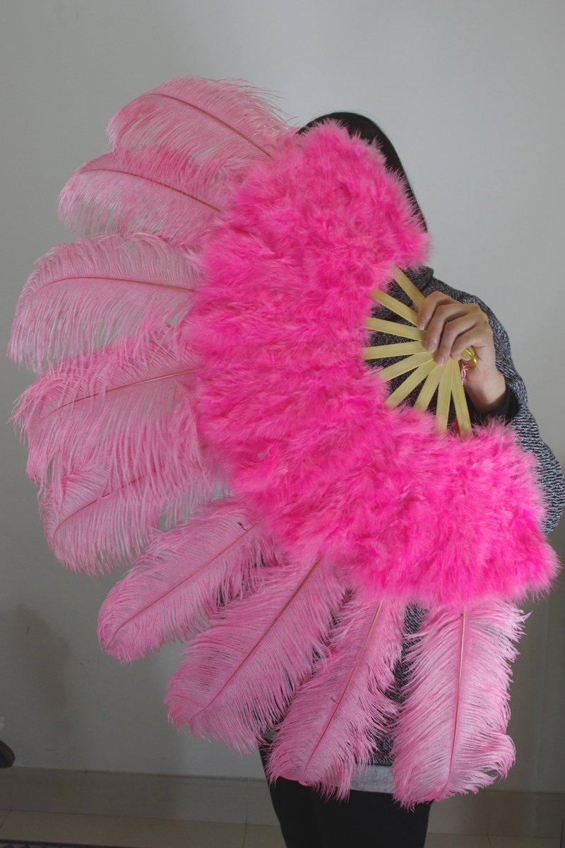 """Pink Marabou Fan Large Feather Fan Burlesque Fan 24"""" x 43"""""""