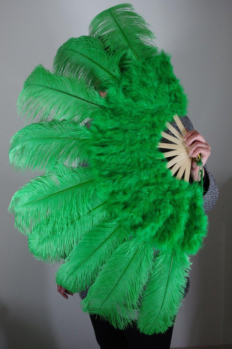 """Green Marabou Fan Large Feather Fan Burlesque Fan 24"""" x 43"""""""