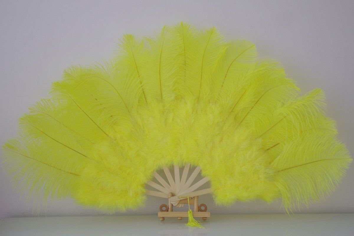 "Yellow Marabou Fan Large Feather Fan Burlesque Fan 21"" x 38"""
