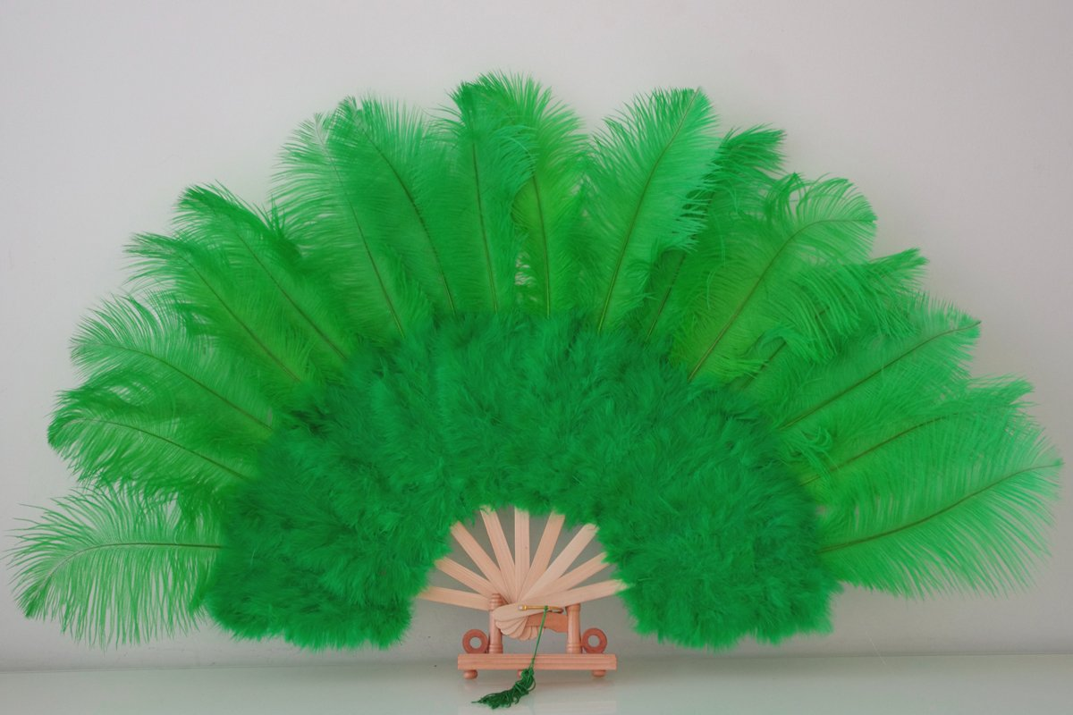 """Green Marabou Fan Large Feather Fan Burlesque Fan 21"""" x 38"""""""