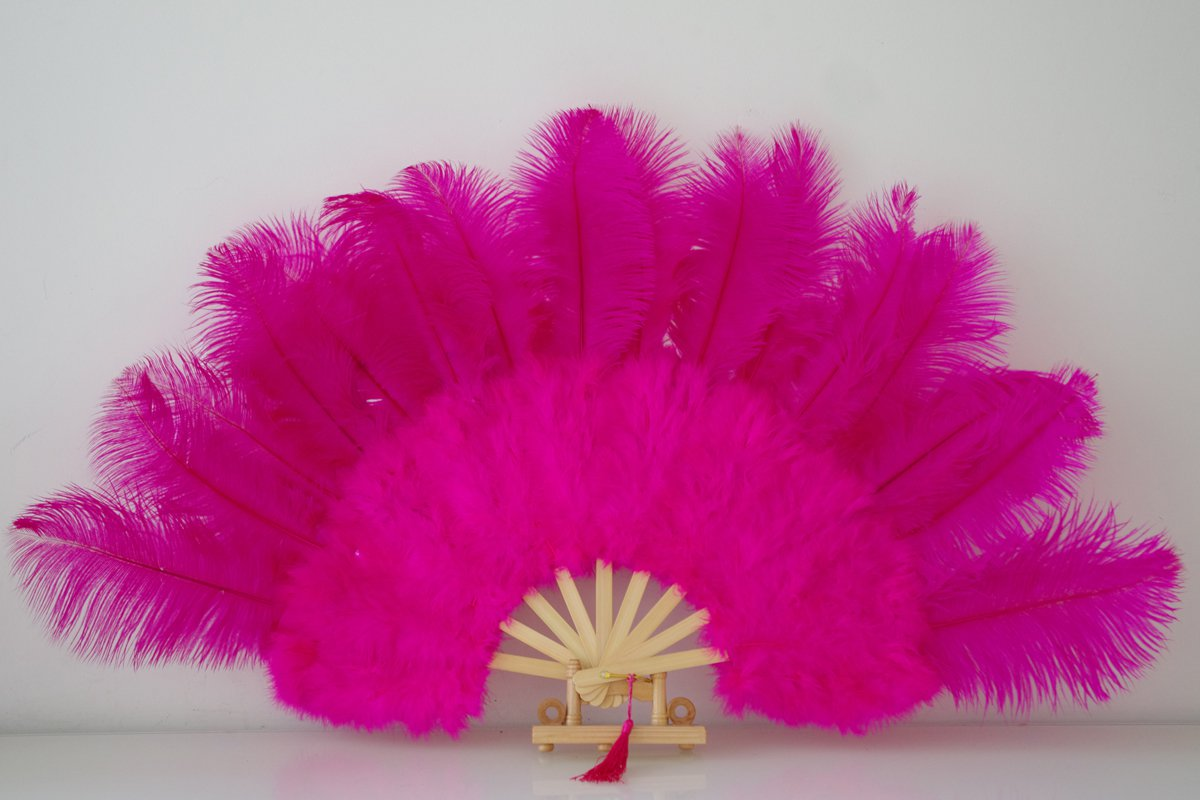 "Hotpink Marabou Fan Large Feather Fan Burlesque Fan 21"" x 38"""