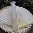 Free Shipping 20Pcs/Lot Plain White Silk Hand Fans for Wedding 21cm with Organza Gift Bag