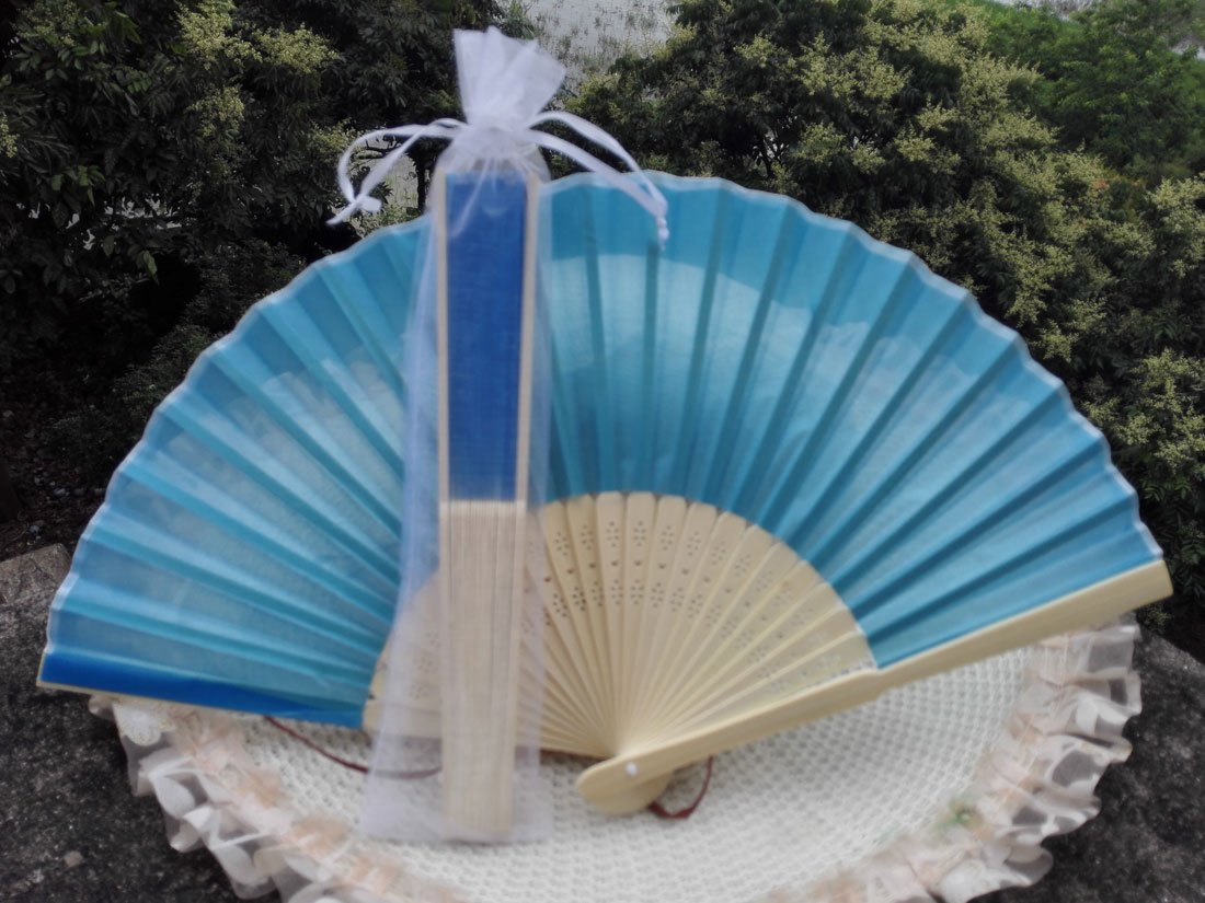 Free Shipping 20Pcs/Lot Plain Blue Silk Hand Fans for Wedding 21cm with Organza Gift Bag
