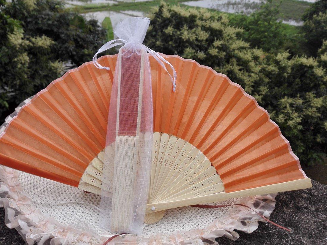 Free Shipping 20Pcs/Lot Plain Orange Silk Hand Fans for Wedding 21cm with Organza Gift Bag