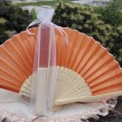 Free Shipping 20Pcs/Lot Plain Orange Silk Hand Fans for Wedding 21cm with Organza Gift Bag