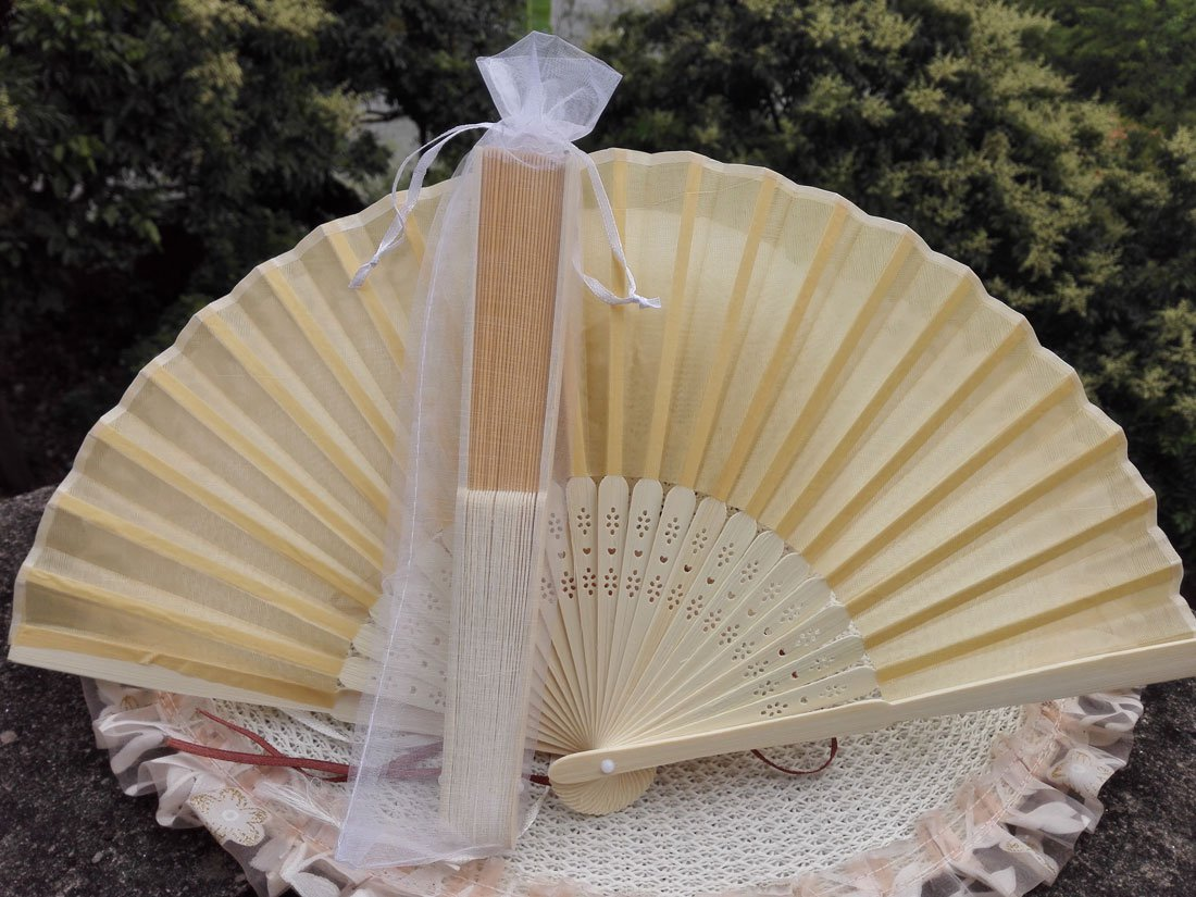 Free Shipping 20Pcs/Lot Plain Yellow Silk Hand Fans for Wedding 21cm with Organza Gift Bag
