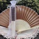 Free Shipping 20Pcs/Lot Plain Coffee Silk Hand Fans for Wedding 21cm with Organza Gift Bag