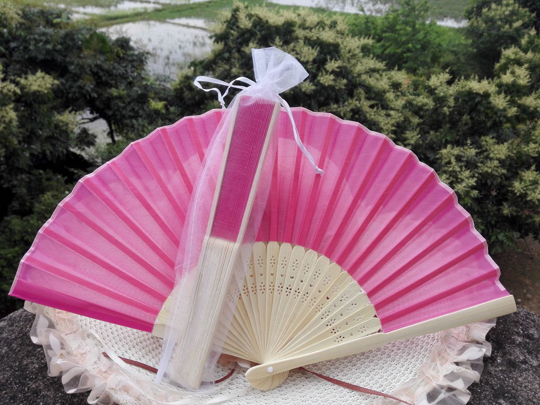 Free Shipping 20Pcs/Lot Plain Hot Pink Silk Hand Fans for Wedding 21cm with Organza Gift Bag