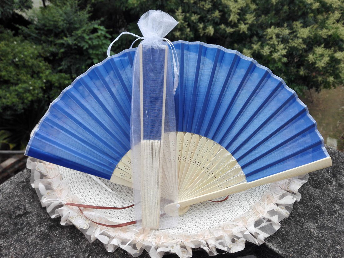 Free Shipping 20Pcs/Lot Plain Dark Blue Silk Hand Fans for Wedding 21cm with Organza Gift Bag
