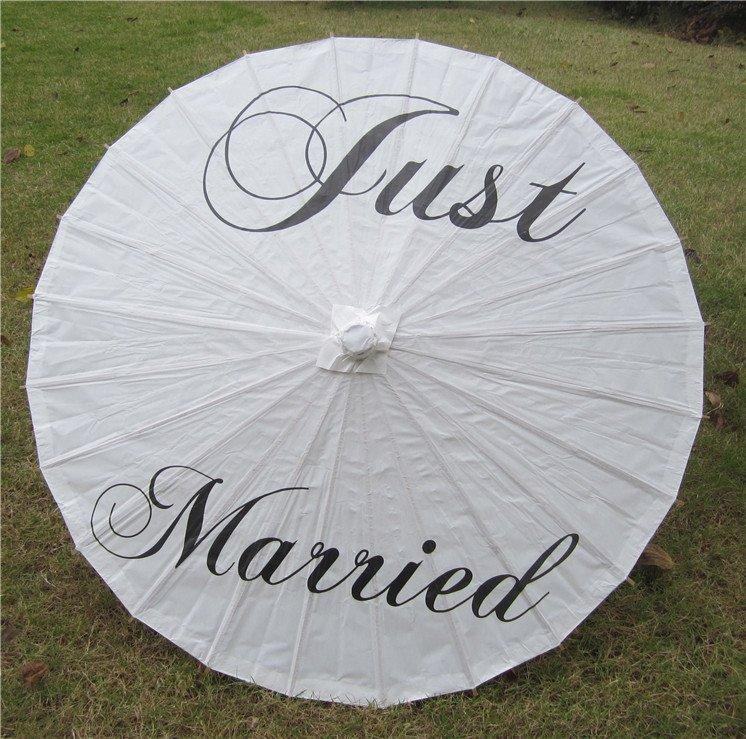 "33"" White Parasol Just Married Parasol Photography Prop Parasol Ceremony Decor"
