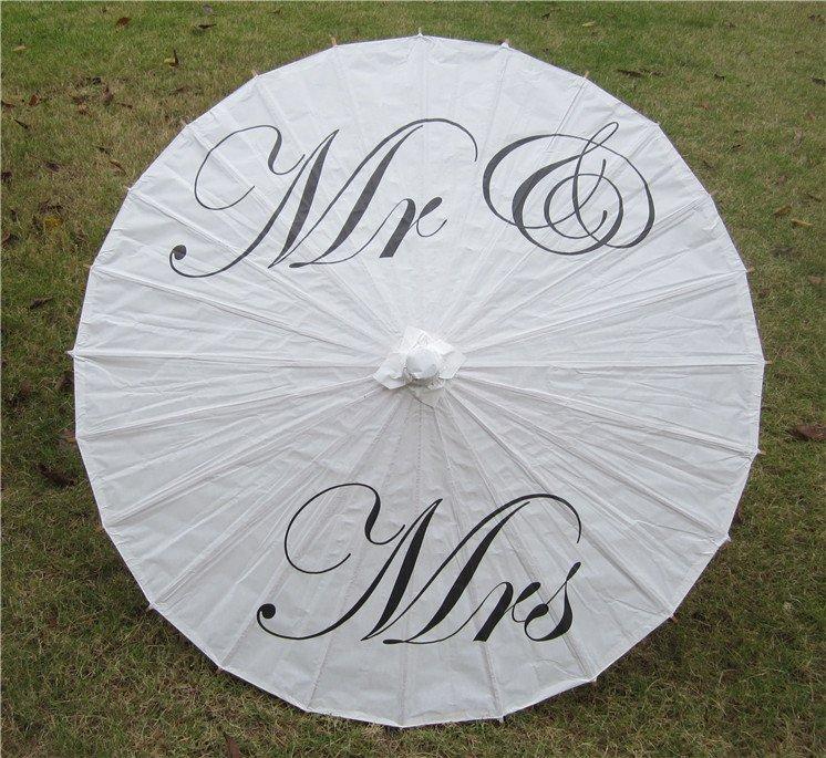 """33"""" White Parasol Mr & Mrs  Parasol Photography Prop Parasol Ceremony Decor"""