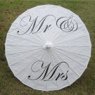 "33"" White Parasol Mr & Mrs  Parasol Photography Prop Parasol Ceremony Decor"